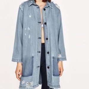 Zara The Levita Distressed Denim Jacket